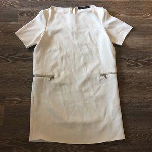 Zara Woman Off-White Mini Shift Dress